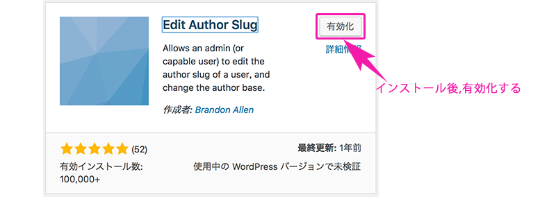 Edit Author Slug のインストール