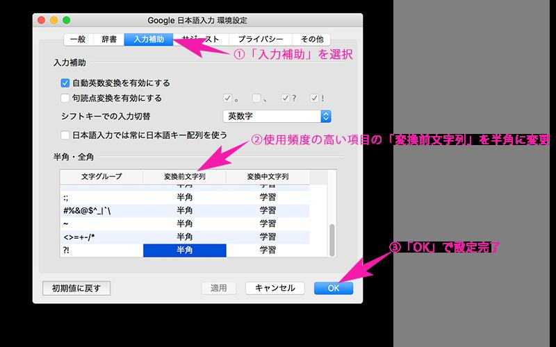Google日本語入力 環境設定(入力補助)